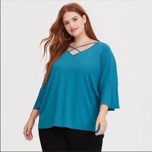 TORRID Aqua Solid Long Sleeve Crepe V Neck Top